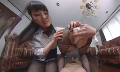 VR Porn Misato Nonomiya and Ikumi Kuroki – Having My Dick Teased By Lewd Women in Black Pantyhose Part 2