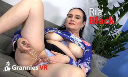 VR Porn Ria Black Masturbates Shaved Pussy