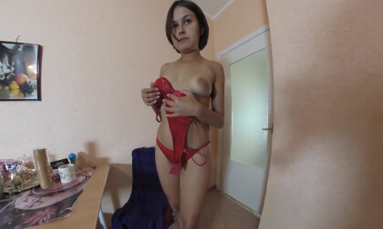 VR Porn Teen Karina Spreads Her Pussy and Plays with Dildo After Work