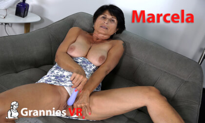 VR Porn Granny Marcela Plays with Toy
