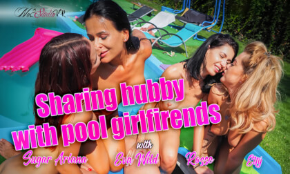 VR Porn Sharing Hubby With Pool Girlfriends