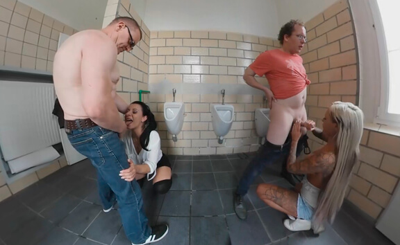 VR Porn Three Amateur Babes Suck and Fuck Five Cocks in a Public Toilet
