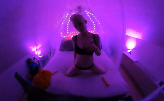 VR Porn Big Titted Short Haired Blonde Rubs Herself to Ecstasy in Her Pink Bedroom